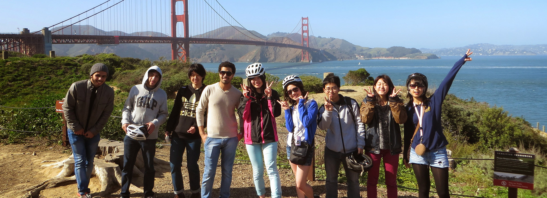 American Language Institute students at San Francisco's Golden Gate Bridge