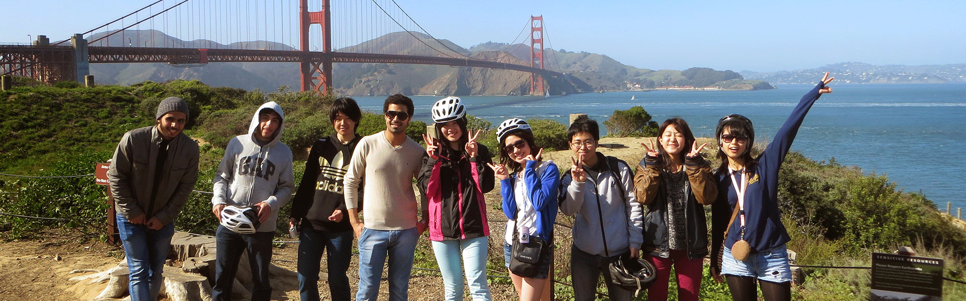 American Language Institute students in front of San Francisco Golden Gate Bridge