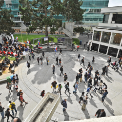 SF State students in Malcolm X Plaza