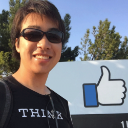 International student, Sota Watanabe, outside of the Facebook headquarters in Silicon Valley