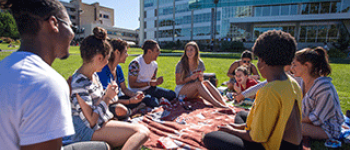 Students sit in a group on the lawn at SF State